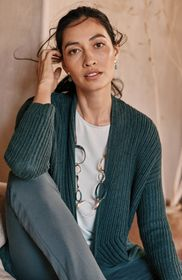Pure Jill Textured Shawl-Collar Cardi