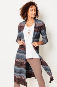 Space-Dyed-Stripes Long Cardi
