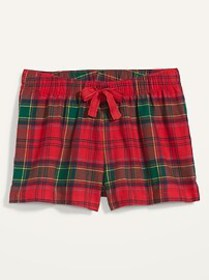 Patterned Flannel Boxer Pajama Shorts for Women --