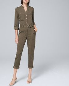 PETITE SOFT UTILITY CROPPED JUMPSUIT