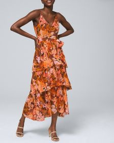 Petite Abstract-Print Tiered Maxi Dress