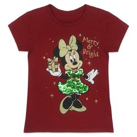 Disney Minnie Mouse Reversible Sequin Holiday T-Sh