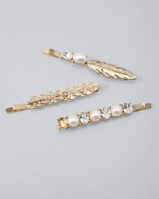 Faux Pearl & Leaf Bobby Pins, Set of 3