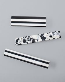 Black & White Hair Clips, Set of 3