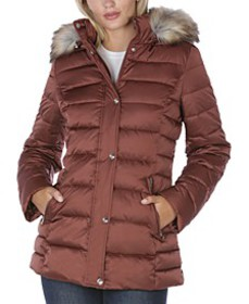 INC Faux-Fur Trim Hooded Puffer Coat, Created for