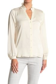 Vince Camuto Ruffled Long Sleeve Button Front Blou
