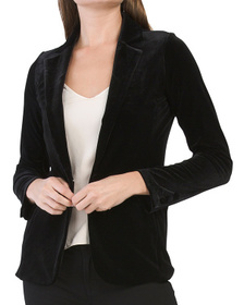 TAHARI Velour One Button Blazer