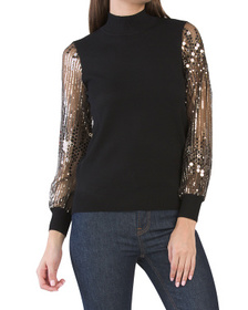 T TAHARI Sequin Mesh Sleeve Sweater