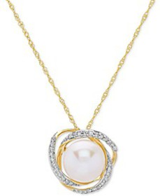 Cultured Freshwater Pearl (8mm) & Diamond (1/8 ct.