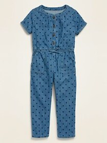 Short-Sleeve Chambray Utility Jumpsuit for Toddler