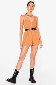 Nasty Gal Camel Close the Lead Button-Down Relaxed