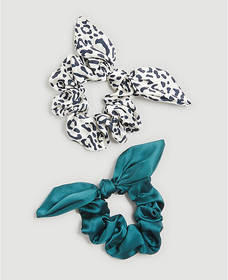 Leopard Print Bow Scrunchie Set