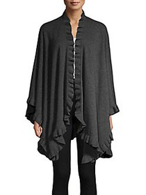 Ply Cashmere Ruffled Cashmere Wrap CHALKBOARD
