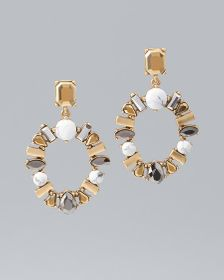 Natural Howlite Statement Earrings