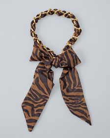 Tiger-Print Scarf with Goldtone Chain Accent