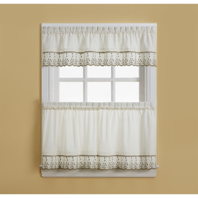 Abby Embroidered Trim Tier Kitchen Curtains