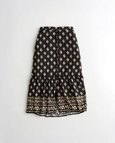 Hollister High-Rise Tiered Midi Skirt, BLACK PATTE