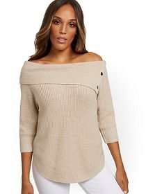 Split-Collar Button-Accent Sweater - New York & Co