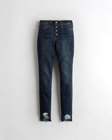 Hollister High-Rise Crop Super Skinny Jeans, DARK
