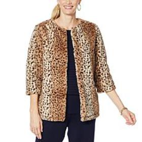 """As Is"" Nina Leonard 3/4-Sleeve Faux Fur Jacket"
