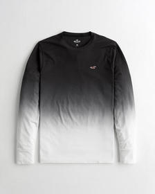 Hollister Must-Have Crewneck T-Shirt, BLACK TO WHI