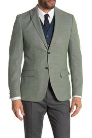 Tommy Hilfiger Light Green Weave Two Button Notch