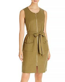 T Tahari - Belted Zip Front Dress