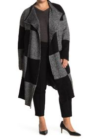 JOSEPH A Large Buffalo Plaid Cardigan Sweater Coat