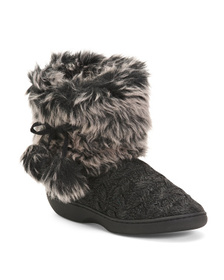 KOOBA Knit Boots With Faux Fur