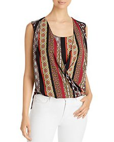 T Tahari - Printed Faux Wrap Blouse