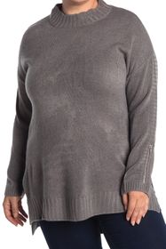 One A Mock Neck Dolman High/Low Tunic Sweater