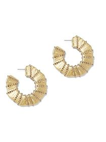 Goldtone Faux-Stone Flat Hoop Earring - New York &
