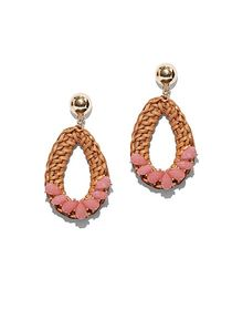 Goldtone Pink Beaded Open-Teardrop Earring - New Y