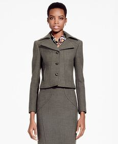 Brooks Brothers Cropped Stretch Wool Blazer