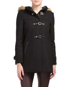 Wool Twill Belt Buckle Closure Coat
