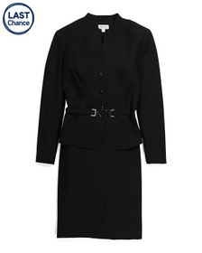 TAHARI BY ASL Collarless Belted Jacket And Skirt S