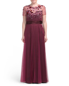 Short Sleeve Beaded Accent Pleated Gown