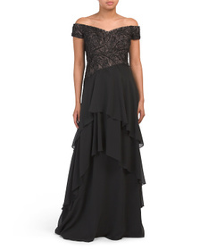 Off The Shoulder Lace And Side Drape Crepe Gown