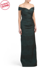 Stretch Metallic Jacquard Gown