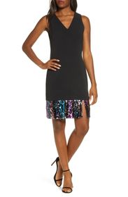 Vince Camuto Sequin Hem Sleeveless A-Line Cocktail