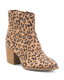 Stacked Heel Leopard Booties