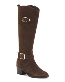 Double Buckle Suede Riding Boots