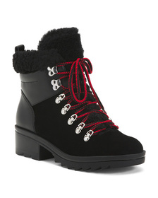 Sherpa And Leather Lug Sole Boots