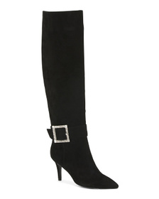 Buckle Detail High Shaft Suede Boots