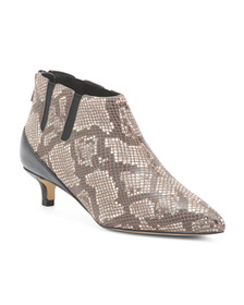Leather Python Print Ankle Booties