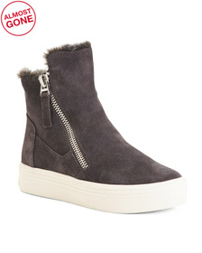 Suede Faux Fur Lined Sneakers