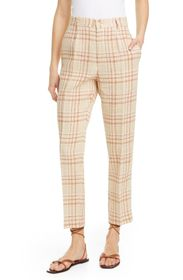 FORTE FORTE Tartan Plaid Linen & Cotton Blend Ankl