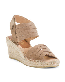Made In Spain Suede Multi-band Wedge Velcro Sandal