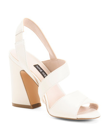 Strappy Flare Heel Leather Sandals