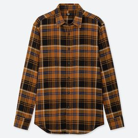 Men Flannel Checked Long-Sleeve Shirt, Yellow, Med